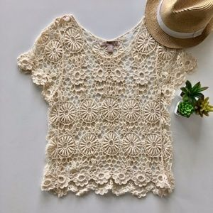 Embroidered Short Sleeve Top Ivory